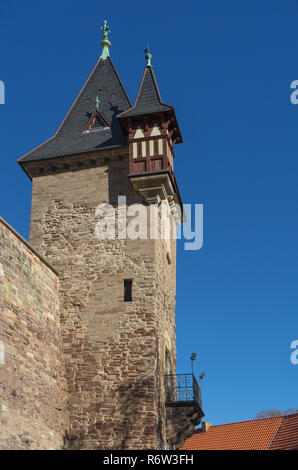 Tower at Castle Wernigerode in Germany. Harz with blue sky - Stock Photo
