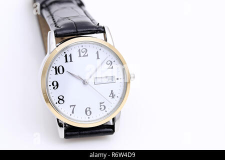 wrist watch with leather strap on white background - Stock Photo