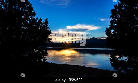 Lake sunrise in the California mountains - Stock Photo