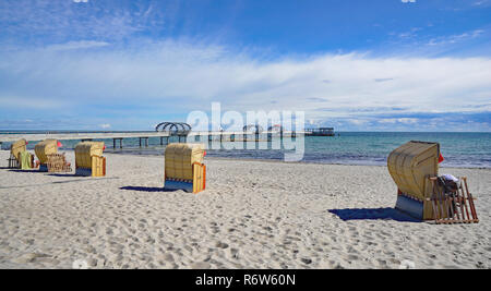 beach and pier in ostseebad kellenhusen,schleswig-holstein,germany - Stock Photo