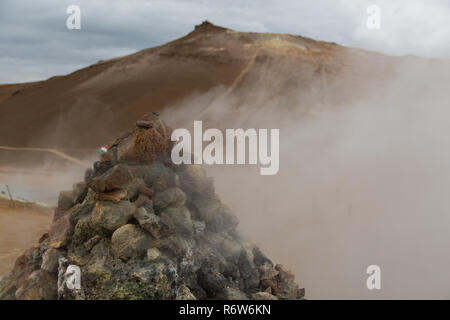 Fumeroles and steam at Hverir, Namafjall, Iceland - Stock Photo
