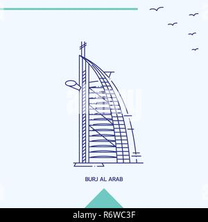 BURJ AL ARAB skyline vector illustration - Stock Photo