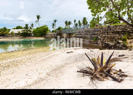 Bonriki-Buota bridge between islets over the lagoon, South Tarawa, Kiribati, Micronesia, Oceania, South Pacific Ocean. - Stock Photo