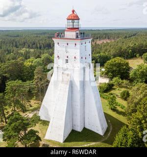 Historical old Kõpu lighthouse (Kopu lighthouse), Hiiumaa island, Estonia aerial drone photo. Birds eye view. - Stock Photo