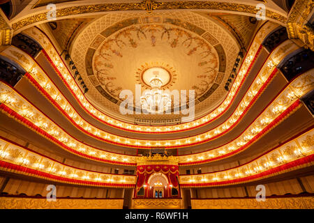 View from the stage of the auditorium of the Alexandrinsky Theater before a performance in St. Petersburg city, Russia - Stock Photo