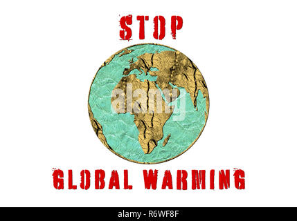 Stop Global Warming, a conceptual image symbolising effects of drastic change in climate and environment of our planet - Stock Photo