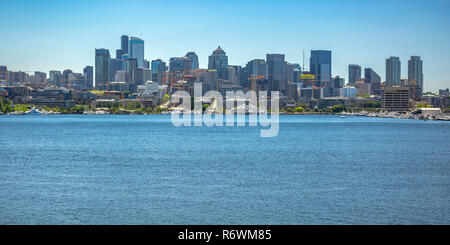 Union Lake and buildings against sky in Seattle - Stock Photo