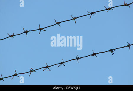 Old rusty barbed wire on a blue sky - Stock Photo