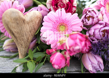 spring flowers decorated for mothers day - Stock Photo