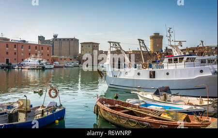 View of the Fortezza Vecchia, an Old Fortress with a tower located in Livorno, on an area that many call little Venice, Tuscany, Italy - Stock Photo