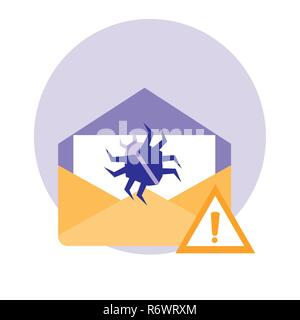 envelope mail with attack virus vector illustration design - Stock Photo