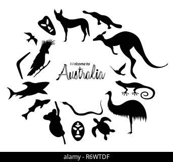 Set of Australian animals silhouettes. The nature of Australia. Isolated on white background. Black silhouette of  kangaroo, masks, shark, boomerang,  - Stock Photo