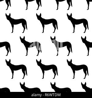 Seamless pattern with silhouettes of Dingo dog. Australian animal. Isolated on white background. Black silhouettes. Hand drawn. Vector illustration. - Stock Photo