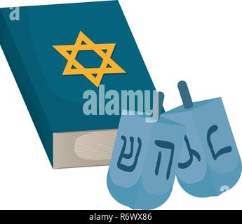 Jewish dreidel hanukkah with holy book vector illustration design - Stock Photo