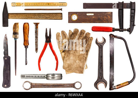 Various old craftsman tools isolated on white background - Stock Photo