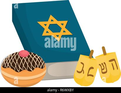 dreidel hanukkah with holy book and donut vector illustration design - Stock Photo