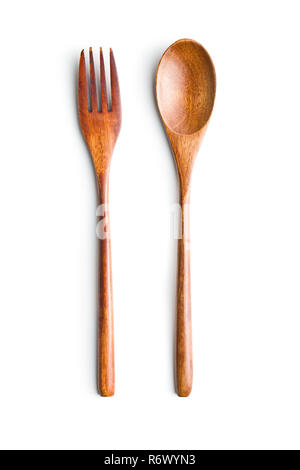 Wooden spoon and fork isolated on white background. - Stock Photo
