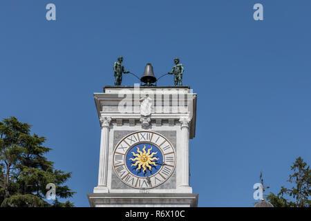 Clock tower (Torre dell'Orologio), Loggia di San Giovanni, Udine, Friuli Venezia Giulia, Italy - Stock Photo