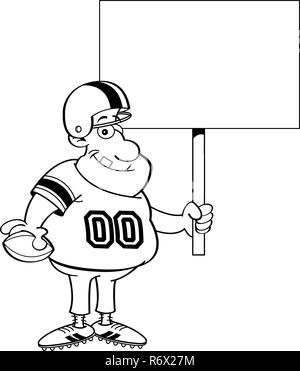 Black and white illustration of a football player holding a sign. - Stock Photo