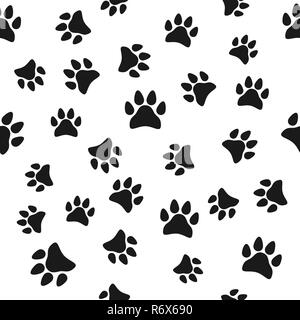 Paw print, seamless pattern. Vector illustration. Black white - Stock Photo