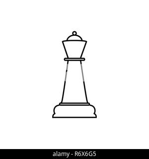 Quenn line chess icon. Vector illustration, flat design. - Stock Photo