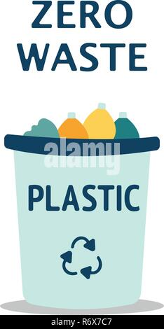 Blue garbage can with plastic garbage elements, illustration - Stock Photo