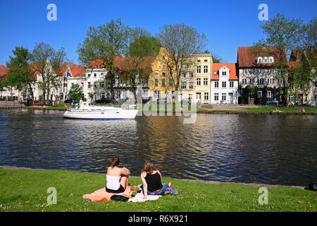 View across Obertrave river, Lübeck, Luebeck, Schleswig-Holstein, Germany, Europe - Stock Photo