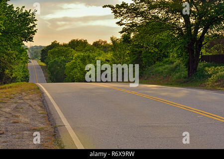 Route 66 in spring, Chandler, Oklahoma, USA - Stock Photo