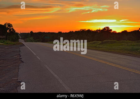 Route 66 at dusk, Chandler, Oklahoma, USA - Stock Photo