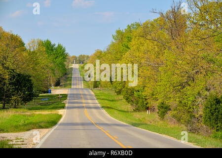 Hills on Route 66, near Lebanon, Missouri, USA - Stock Photo