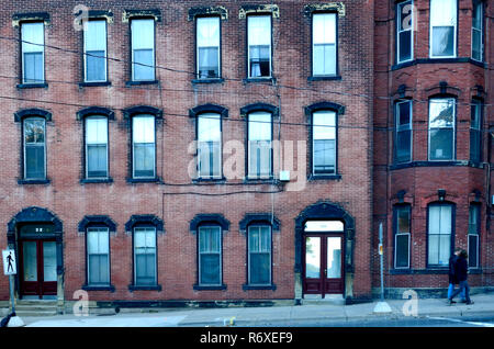 A front view of the 19th century brick architecture situated near King's Square in the city of Saint John New Brunswick Canada - Stock Photo