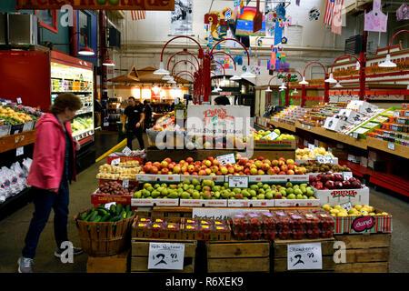 A horizontal image of a fruit and vegetable stall inside the Saint John city market on King Street in Saint John New Brunswick Canada, - Stock Photo