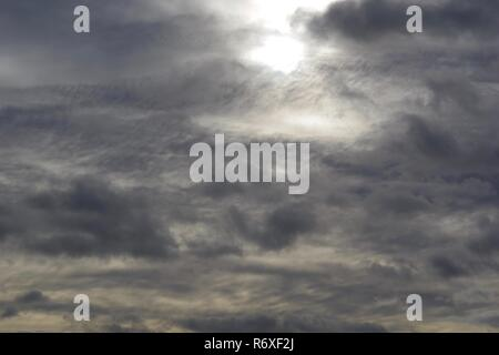 HDR Photo of an Overcast Cloudy Sky by Aberdeen Beach, Scotland, UK. - Stock Photo