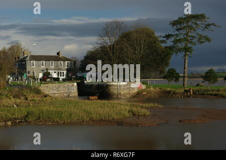 Turf Lock, at the End of the Exeter Ship Canal on the Exe Estuary. Devon, UK. - Stock Photo