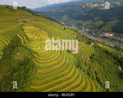 Vietnam landscapes with terraces rice field. Rice fields on terraced of Sapa, Lao Cai. Royalty high-quality free stock image picture of terrace rice - Stock Photo