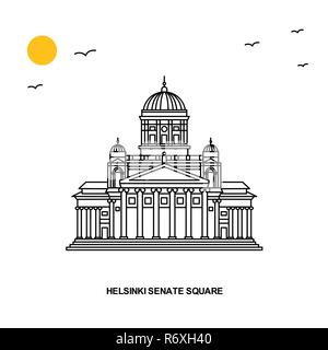 HELSINKI SENATE SQUARE Monument. World Travel Natural illustration Background in Line Style - Stock Photo