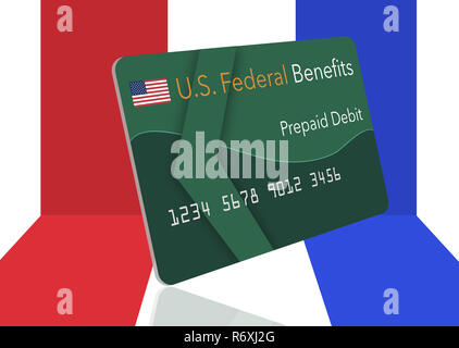 Federal  benefits for Social Security, SSI, VA  and more can be paid using a prepaid debit card. Here is a mock prepaid government debit card. This is - Stock Photo