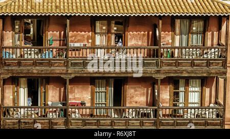 People in the hotel - what do these balconies tell us - the rooms are used by holiday guests. - Stock Photo