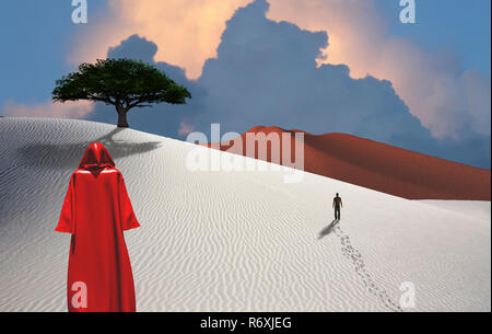 Pilgrim. Figure in cloak stands in desert. Man in a distance. Green tree. Cloudy sky - Stock Photo