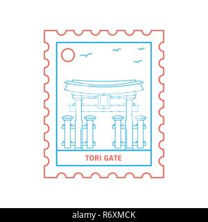 TORI GATE postage stamp Blue and red Line Style, vector illustration - Stock Photo