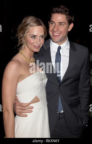 NEW YORK, NY - NOVEMBER 26: Actors John Krasinski and Emily Blunt attend the IFP's 22nd Annual Gotham Independent Film Awards at Cipriani Wall Street  - Stock Photo
