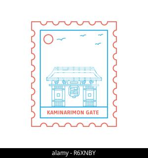 KAMINARIMON GATE postage stamp Blue and red Line Style, vector illustration - Stock Photo