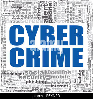 Cyber crime word cloud - Stock Photo