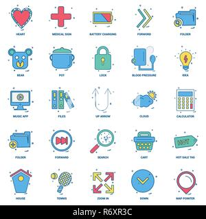 25 Business Concept Mix Flat Color Icon set - Stock Photo
