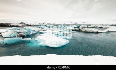 Jokulsarlon is a glacial lagoon or better known as Iceberg Lagoon which located in Vatnajokull National Park Iceland - Stock Photo