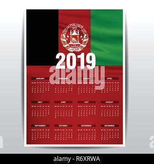 Calendar 2019 Afghanistan Flag background  English language Stock