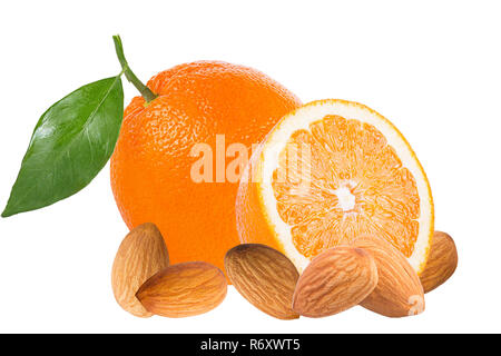 oranges and almonds isolated on white background - Stock Photo