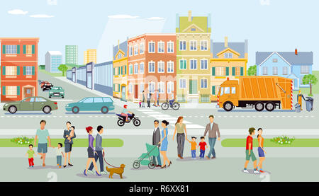 city with pedestrians and traffic,illustration - Stock Photo