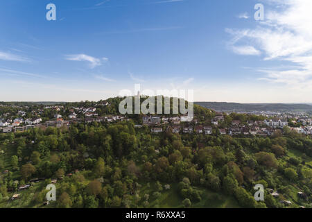 aerial view over orchard meadows on the engelberg near leonberg - Stock Photo