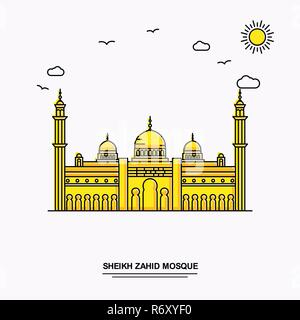 SHEIKH ZAHID MOSQUE Monument Poster Template. World Travel Yellow illustration Background in Line Style with beauture nature Scene - Stock Photo